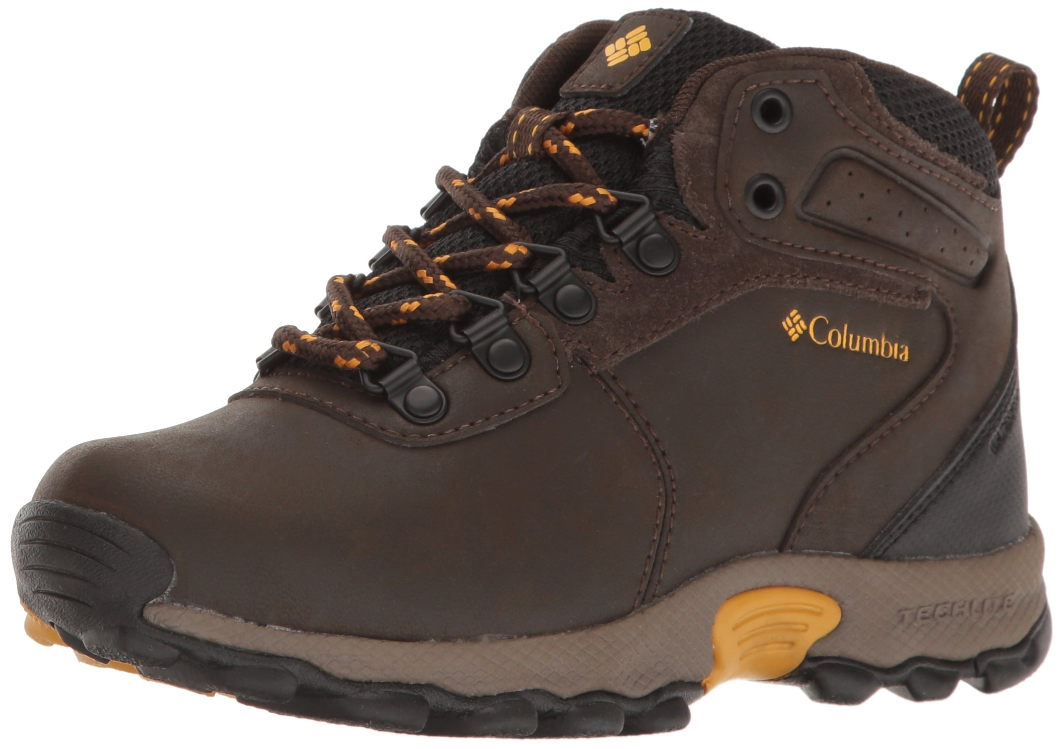 Columbia Unisex Youth Newton Ridge Hiking Shoe, Cordovan, Golden Yellow, 4 Regular US Big Kid