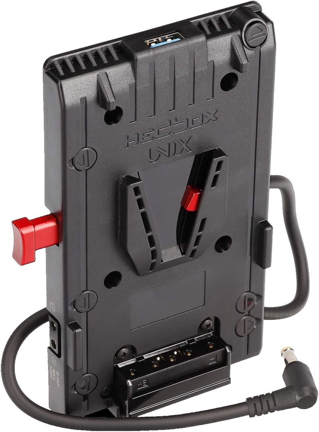 HEDBOX UNIX-SO - V-Mount Battery Adapter Plate, 3x D-Tap & USB, for Sony DV Camcorders, Power Out Cable - Sony DC Jack