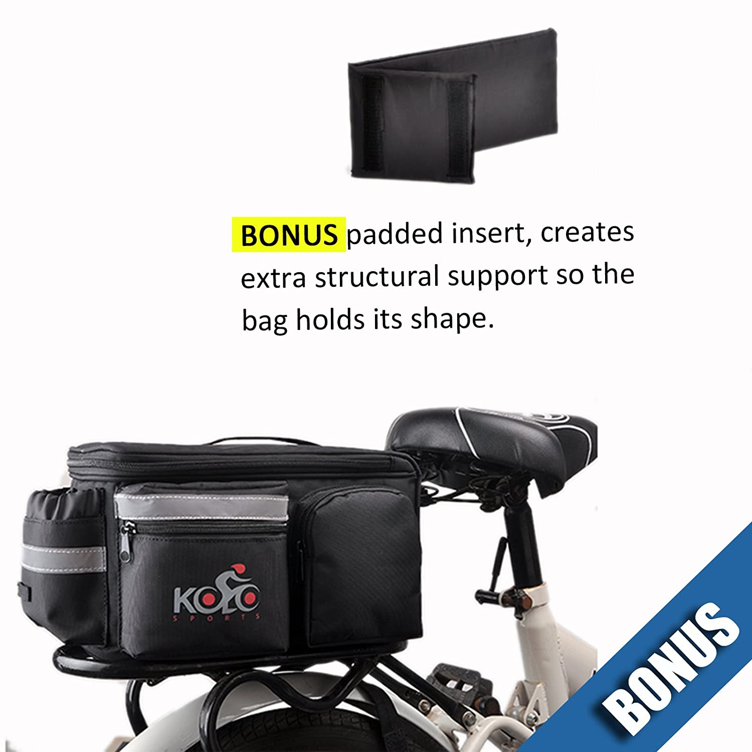 Bike Pannier Bag By Kolo Sports  Durable & Waterproof Nylon With Extra  Padded Foam Bottom