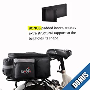 UPGRADE Aug '19: Bike Pannier Bag | Durable & Waterproof Nylon With Extra Padded Foam Bottom & 3 Side Reflectors | Shoulder Strap Rack Rear Trunk Tote Bag | Strong Velcro, Zipper Pockets & Bottle Case
