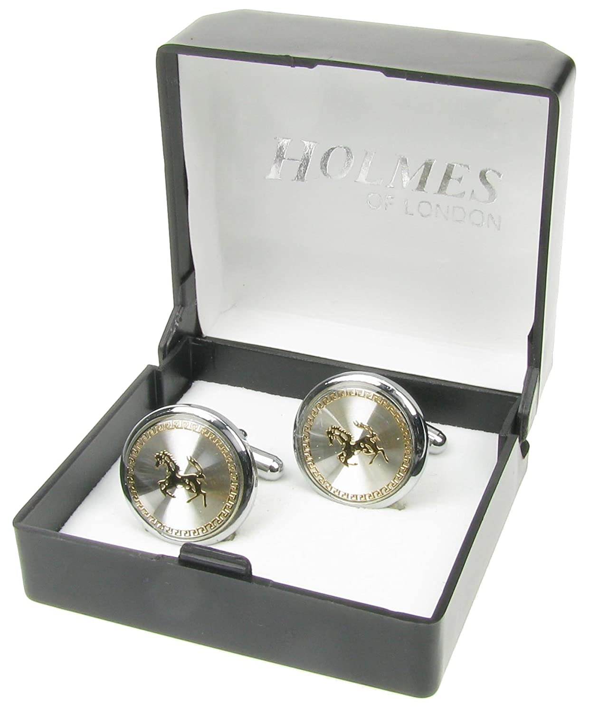 Holmes of London Novelty Ferrari Mens Silver Shirt Cufflinks Wedding Gift Box CTLB27