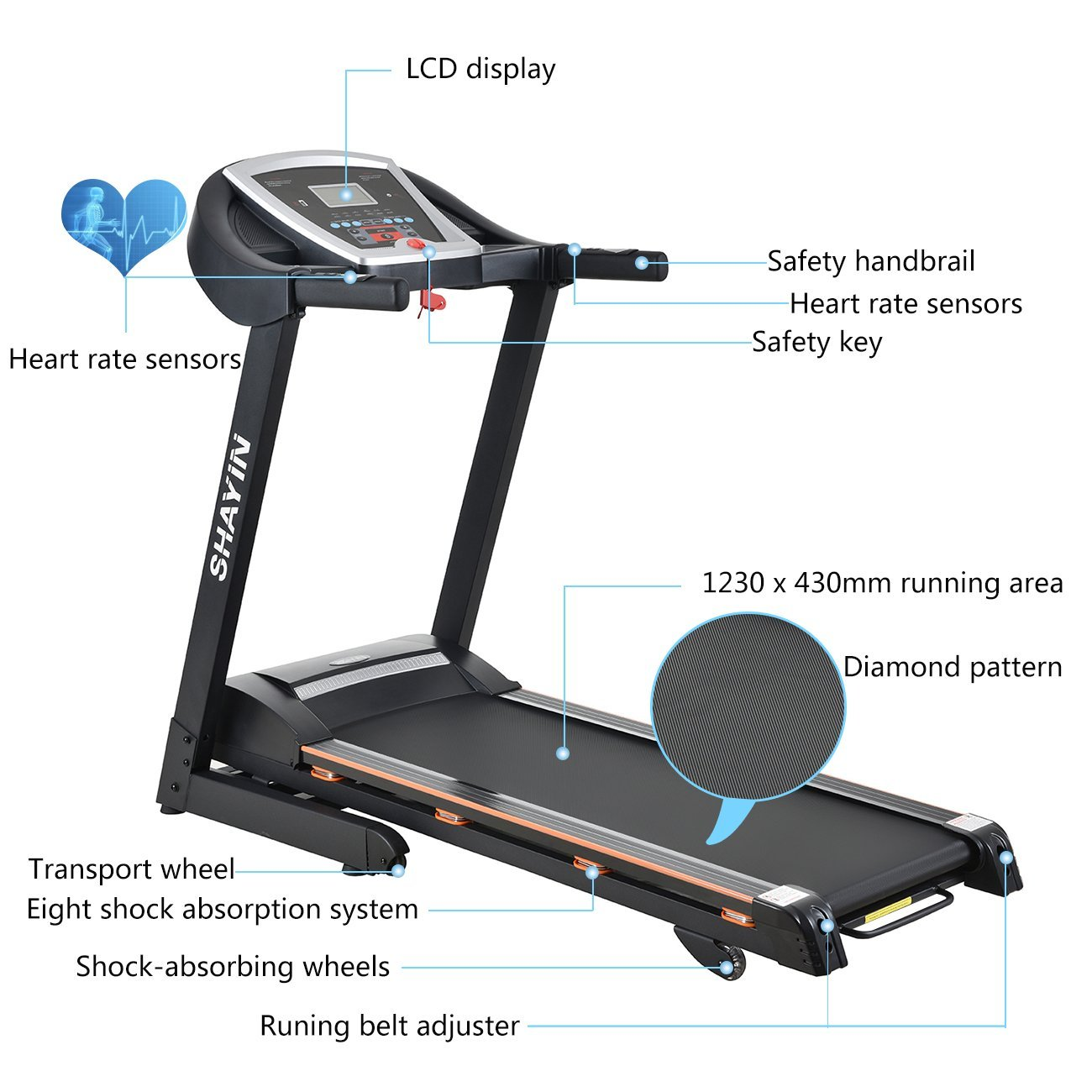 Treadmill Portable Folding Running Machine Indoor Commercial Home Health Fitness Training Equipment (US STOCK) by Shayin (Image #2)