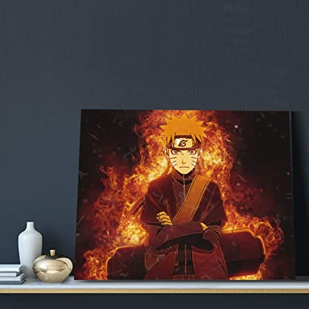Amazon Com Modern Canvas Art Fade Resistant Canvas Pictures Home Decor Fire Naruto Poster Card For Great Gift Bedroom Christmas Posters Prints