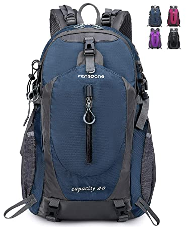 FENGDONG 40L Waterproof Hiking Backpack, Lightweight Resistant Travel Hiking Camping Outdoor Casual Daypack Backpacks for Men Women