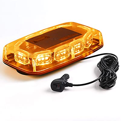 VKGAT 30 LED Roof Top Strobe Lights, Emergency Hazard Warning Safety Flashing Strobe Light Bar for Truck Car, Waterproof and Magnetic Mount 12-24V (Amber): Automotive