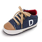 Tutoo Unisex Baby Boys Girls Soft Anti-Slip Sole Sneakers Newborn Infant First Walkers Canvas Denim Shoes (3-6 Months, D-Navy Blue)