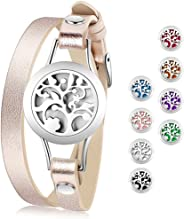 Essential Oil Diffuser Bracelet,Stainless Steel Aromatherapy Locket Bracelets Leather Band with 8 Color Pads,Girl Women Jewel