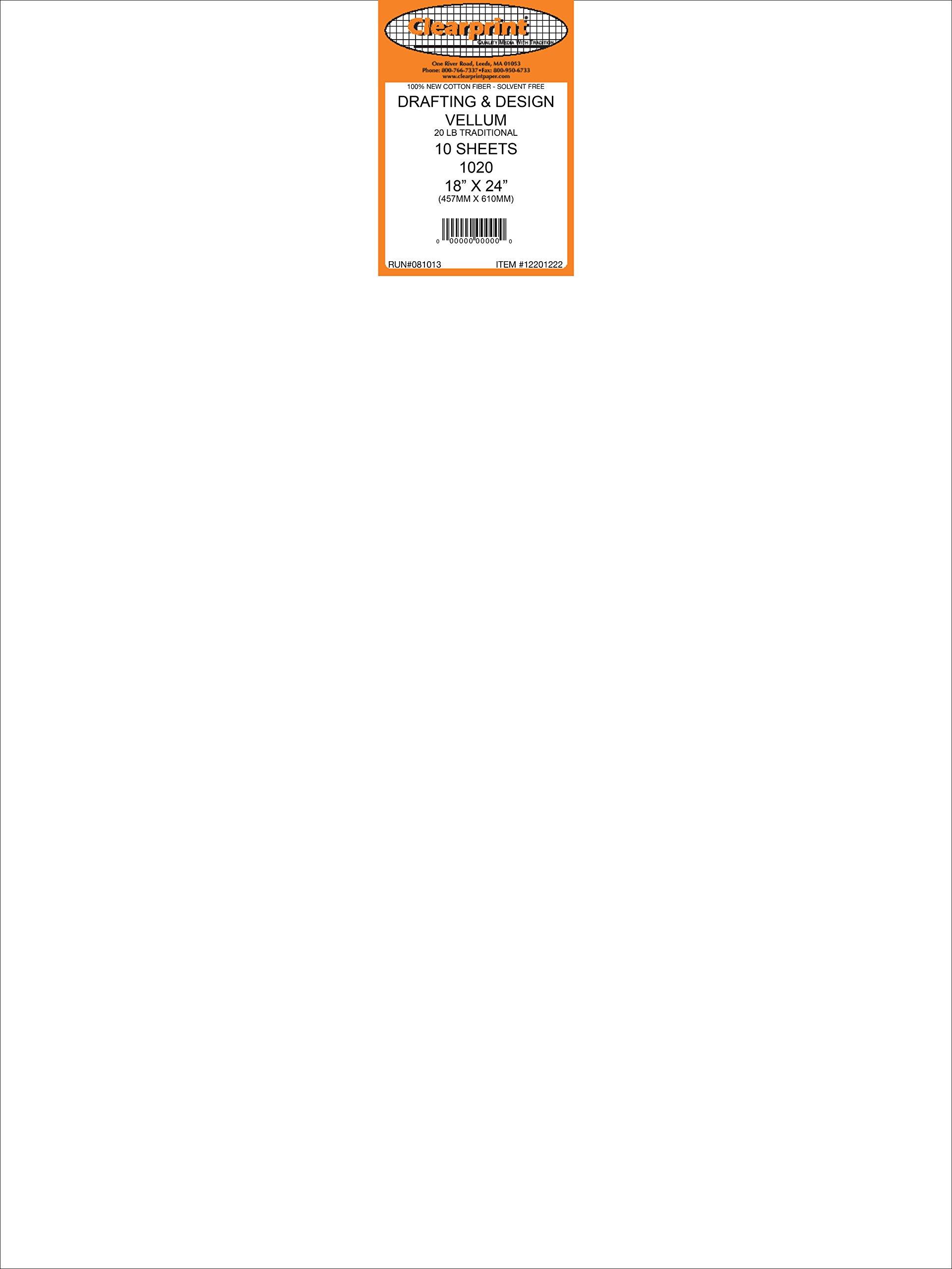 Clearprint 1020H Design Vellum Sheets, 20 lb, 100% Cotton, 18 x 24 Inches, 10 Sheets Per Pack, Translucent White, 1 Each (12201222)