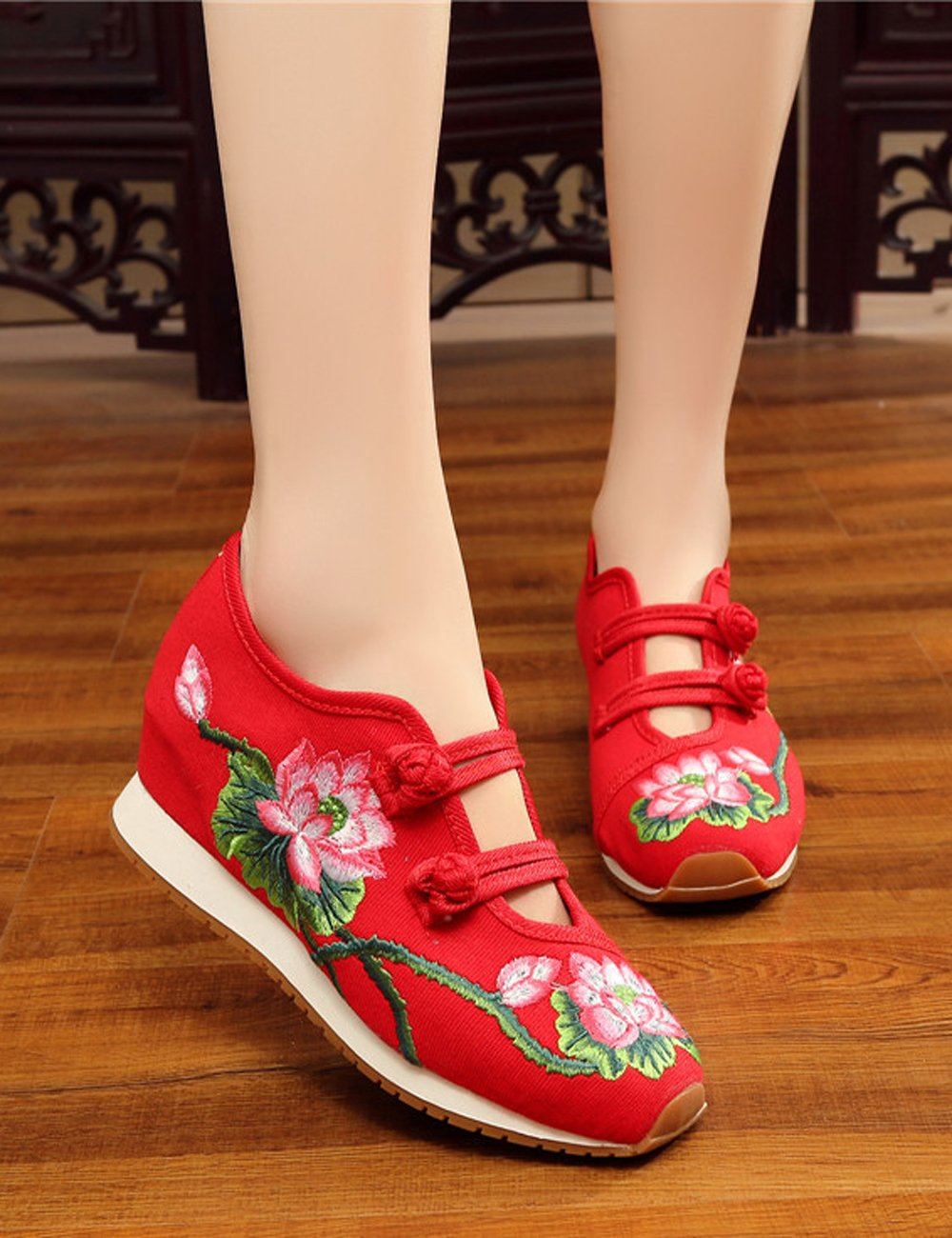 Womens Canvas Lotus Flats Embroidered Cloth Shoes Increased Flats Lotus Casual Walking Sneakers Fashion Traveling Shoes B01M23TO9L 6 B(M) US|Red c5f9ae