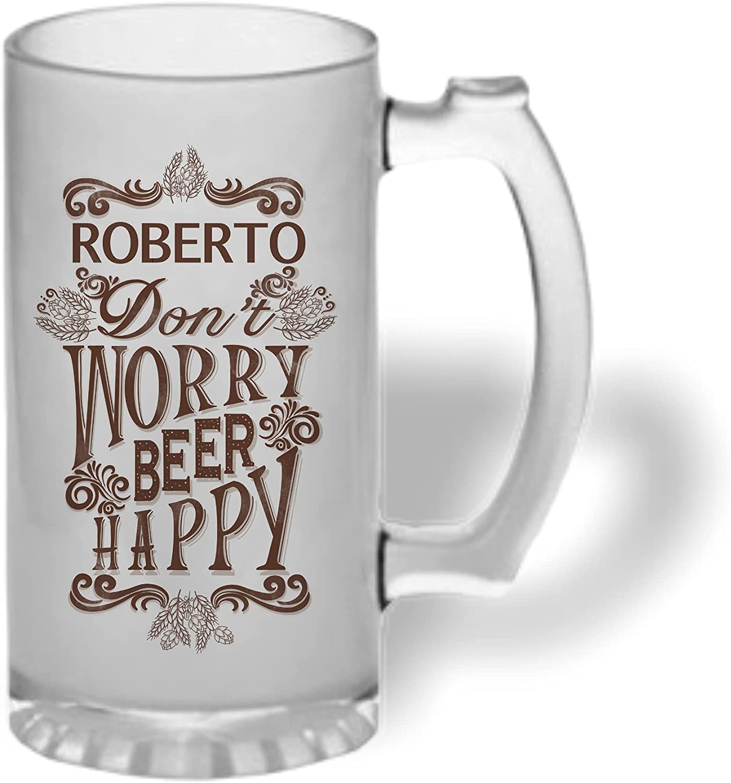 Bee Ingenious Jarra cerveza personalizada de cristal esmerilado. Jarra de cerveza original: Don't Worry Beer Happy. Con nombre personalizado