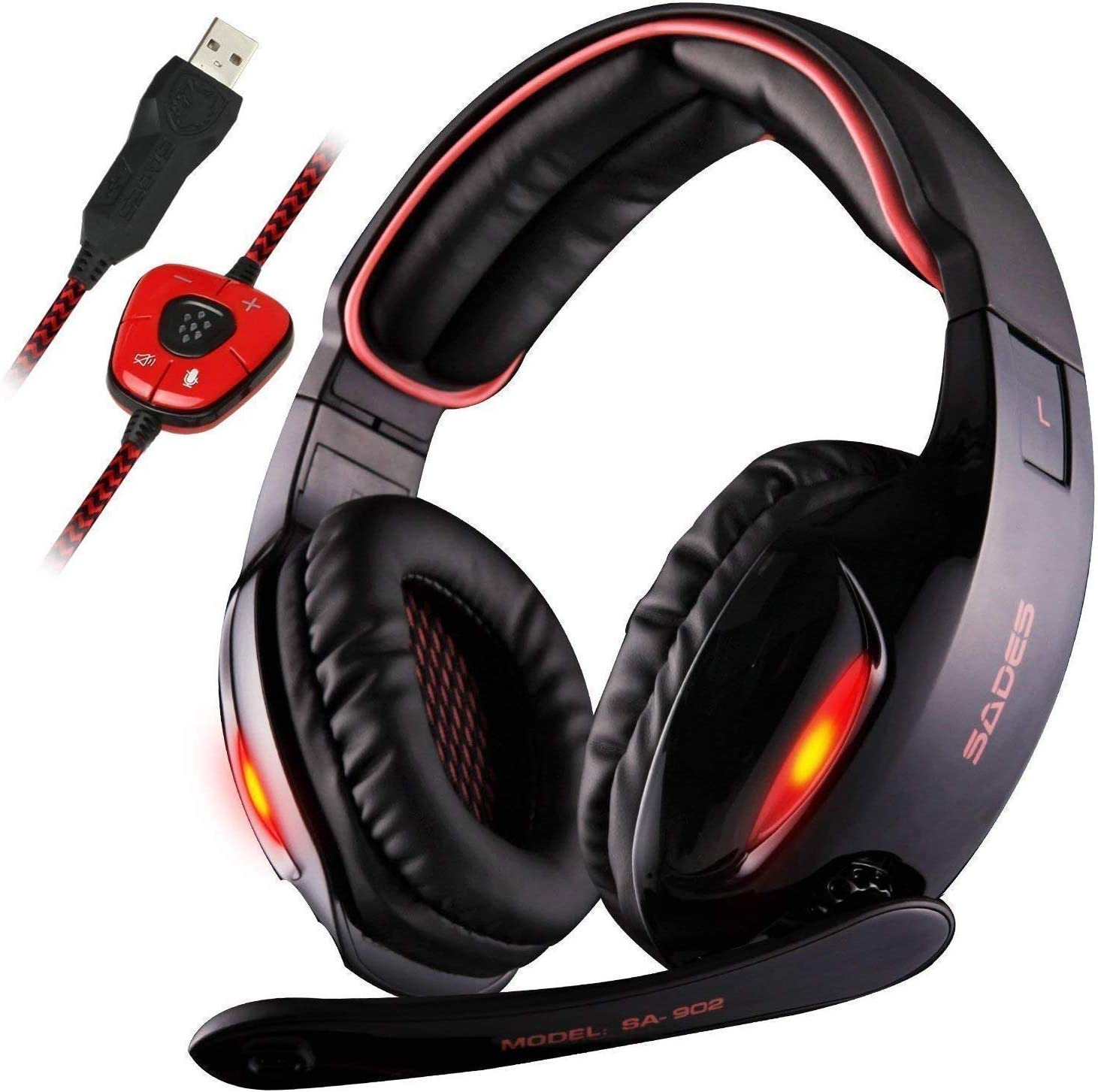 Sades SA902 7.1 Channel Virtual USB Surround Stereo Wired PC Gaming Headset the light contain headset one of the best headset for the gaming and Nintendo switch fortnite