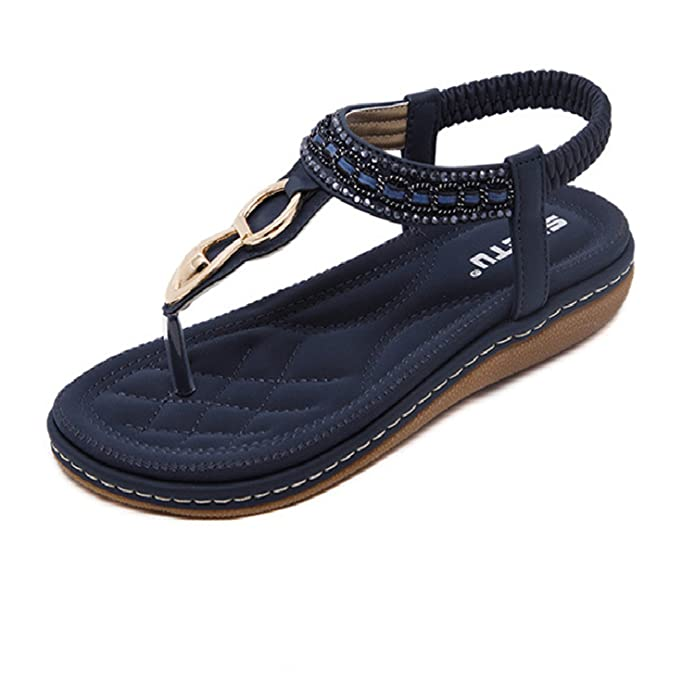 Amazon.com   Fashion Leather Women Sandals Bohemian00 Diamond Slippers Woman Flats Flip Flops Shoes Summer Beach Sandals Size10 YDT563   Platforms & Wedges