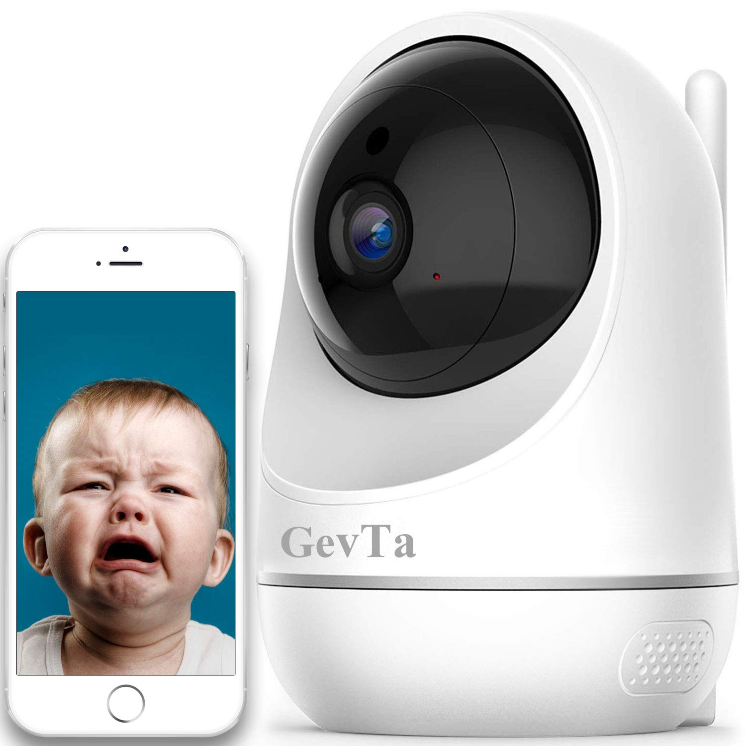 GevTa Baby Monitor, 1080P FHD Home WiFi Security Baby Camera Sound Motion Detection with Night Vision 2-Way Audio Cloud Service