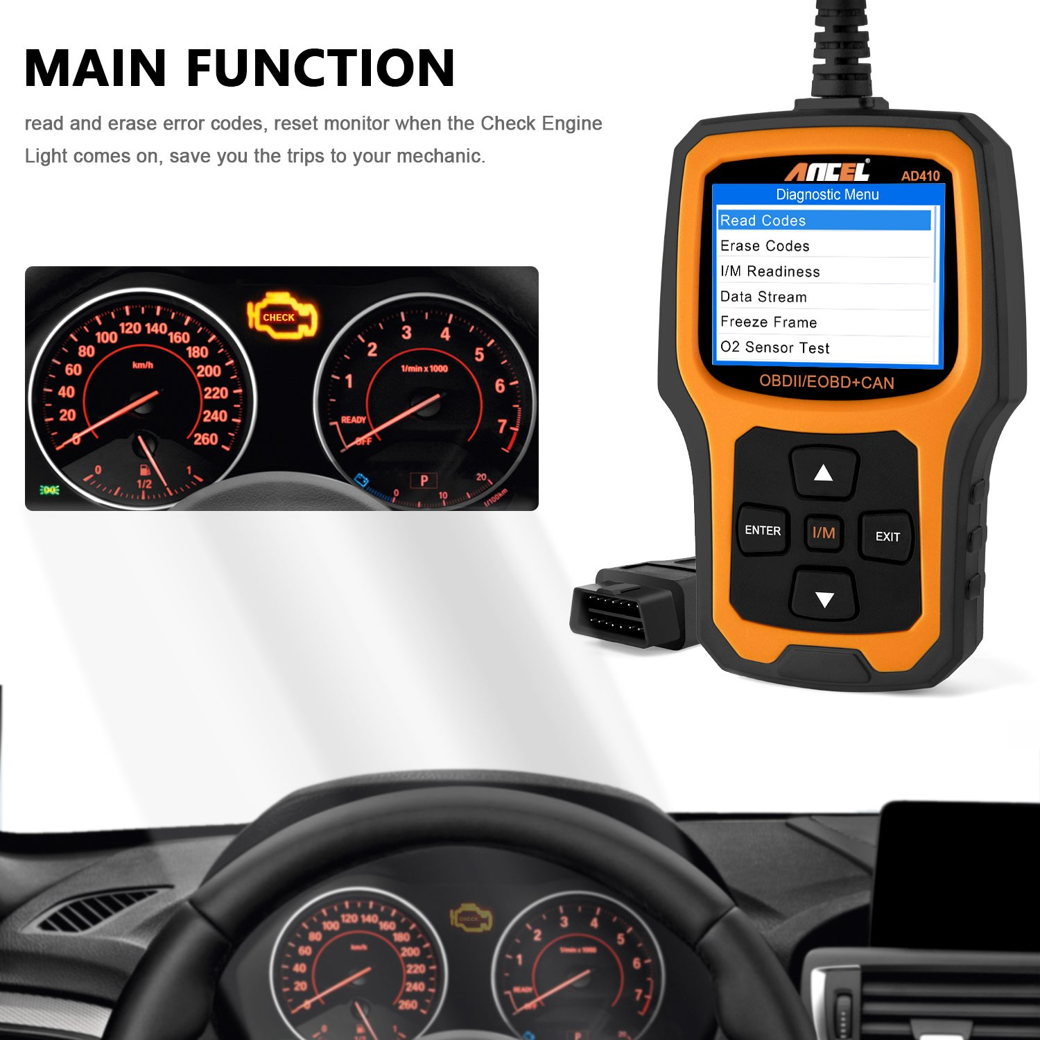 ANCEL AD410 Enhanced OBD II Vehicle Code Reader Automotive OBD2 Scanner Auto Check Engine Light Scan Tool (Black-Yellow)