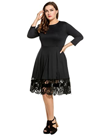 Meaneor Women Plus Size Long Sleeve A-Line Cocktail Dresses with Lace