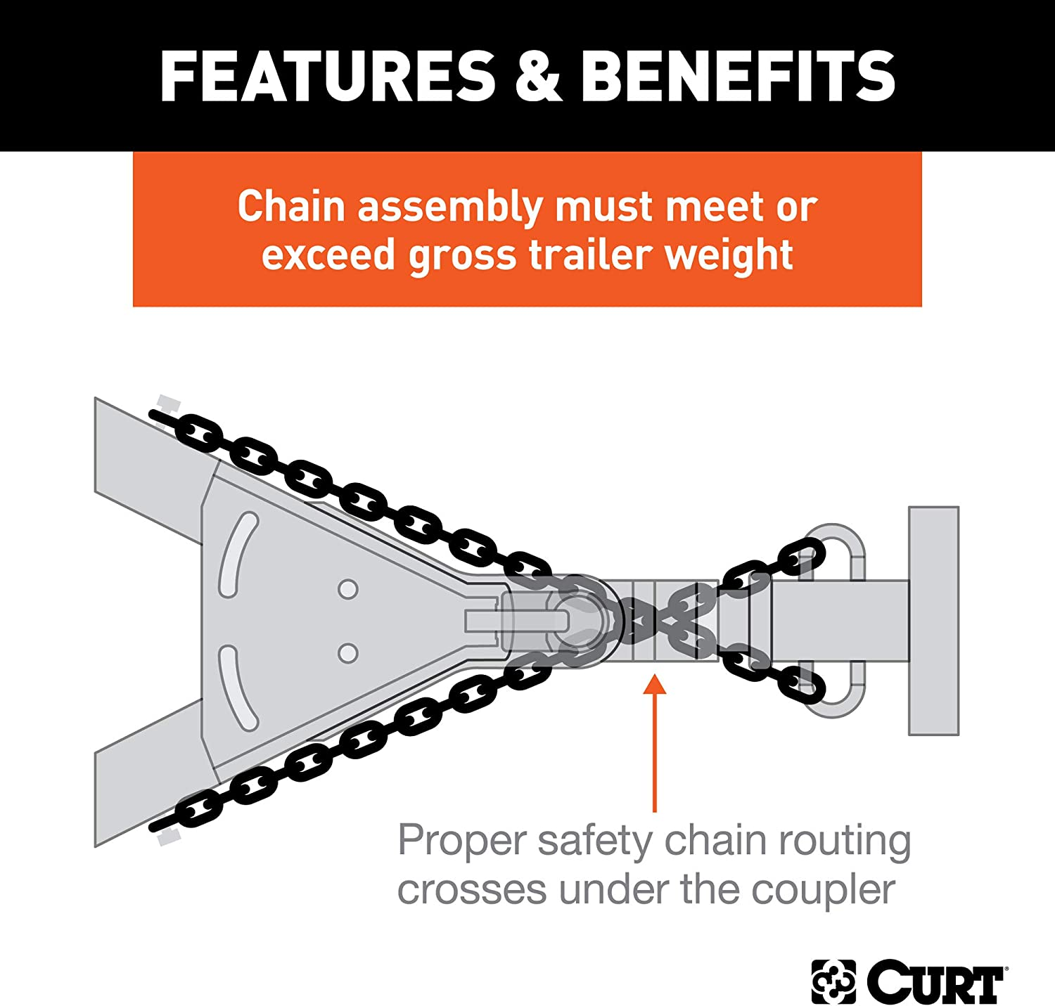 CURT 80303 35-Inch Trailer Safety Chain with 1//4-Inch Clevis Snap Hook 12,600 lbs Break Strength