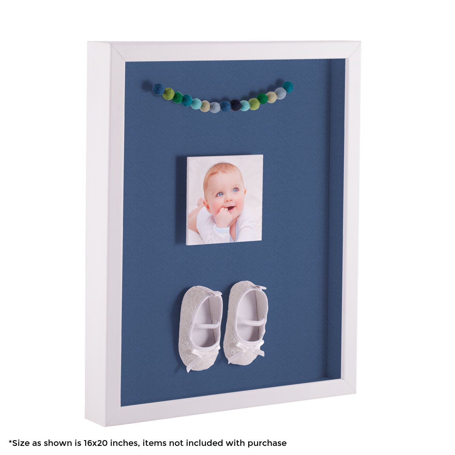 ArtToFrames 24 x 36 Inch Shadow Box Picture Frame, with a Satin White 1'' Shadowbox frame and Royal Mat