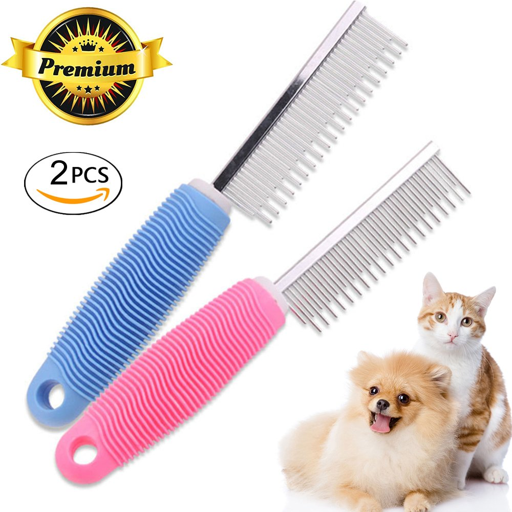 yudeke 2 Pack Long & Short Stainless Steel Teeth pet Comb – Removes Tangles, Knots, Loose Fur Dirt. Ideal Everyday Use Dogs Cats Short Long Hair