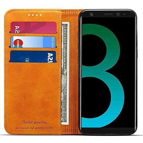 Funda cartera de Samsung Galaxy S8 Plus con una solapa para llevar tarjeta de credito y dinero, cierre magnético invisible y función de soporte