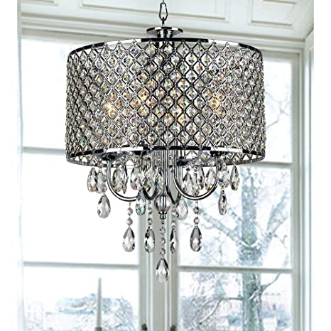 4-light Round Hanging Crystal Chandelier Pendant Ceiling Fixture ...
