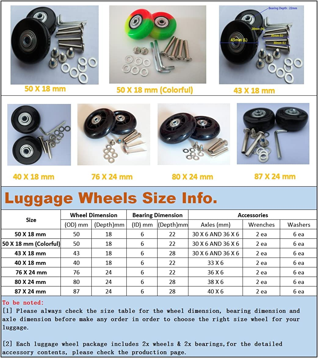 Eric_Leon 2 Set of Luggage Suitcase Replacement Wheels with ABEC 608zz Bearings, Packaged with our own designed bag Logo