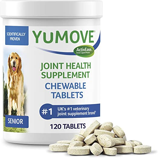 Lintbells Dog Joint Supplement for Senior Dogs Hip and Joint Supplement for Dogs with Glucosamine Hyaluronic Acid and Green Lipped Mussel and Omegas by YuMOVE - 120 Chewable Tablets 120 Count Senior