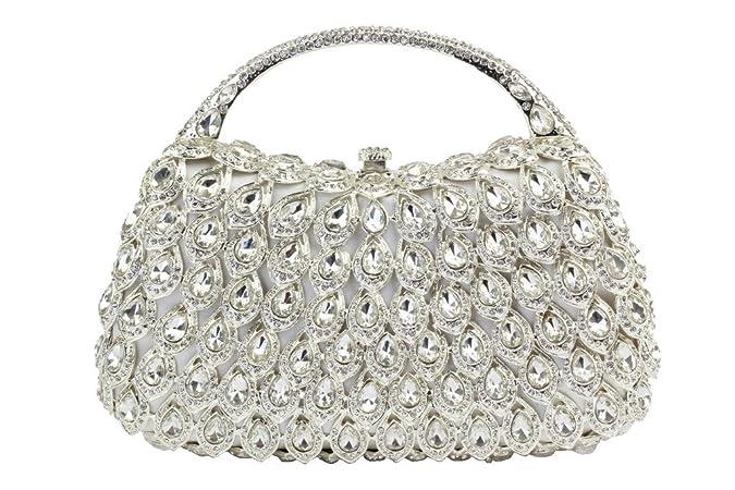 Yilongsheng Señoras bolsos de tarde con piedras de cristal y cadena (blanco): Amazon.es: Zapatos y complementos