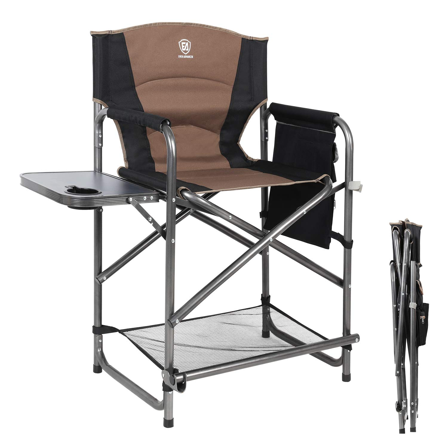 EVER ADVANCED Medium Tall Directors Chair Bar Height Foldable Makeup Artist Chair with Side Table Cup Holder Side Storage Bag Footrest, Supports 300LBS by EVER ADVANCED