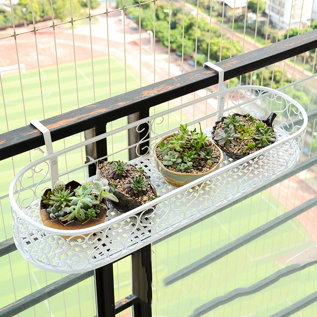 Weiss Metall Balkon Gelander Blume Racks Windowsill Gelander Zaun
