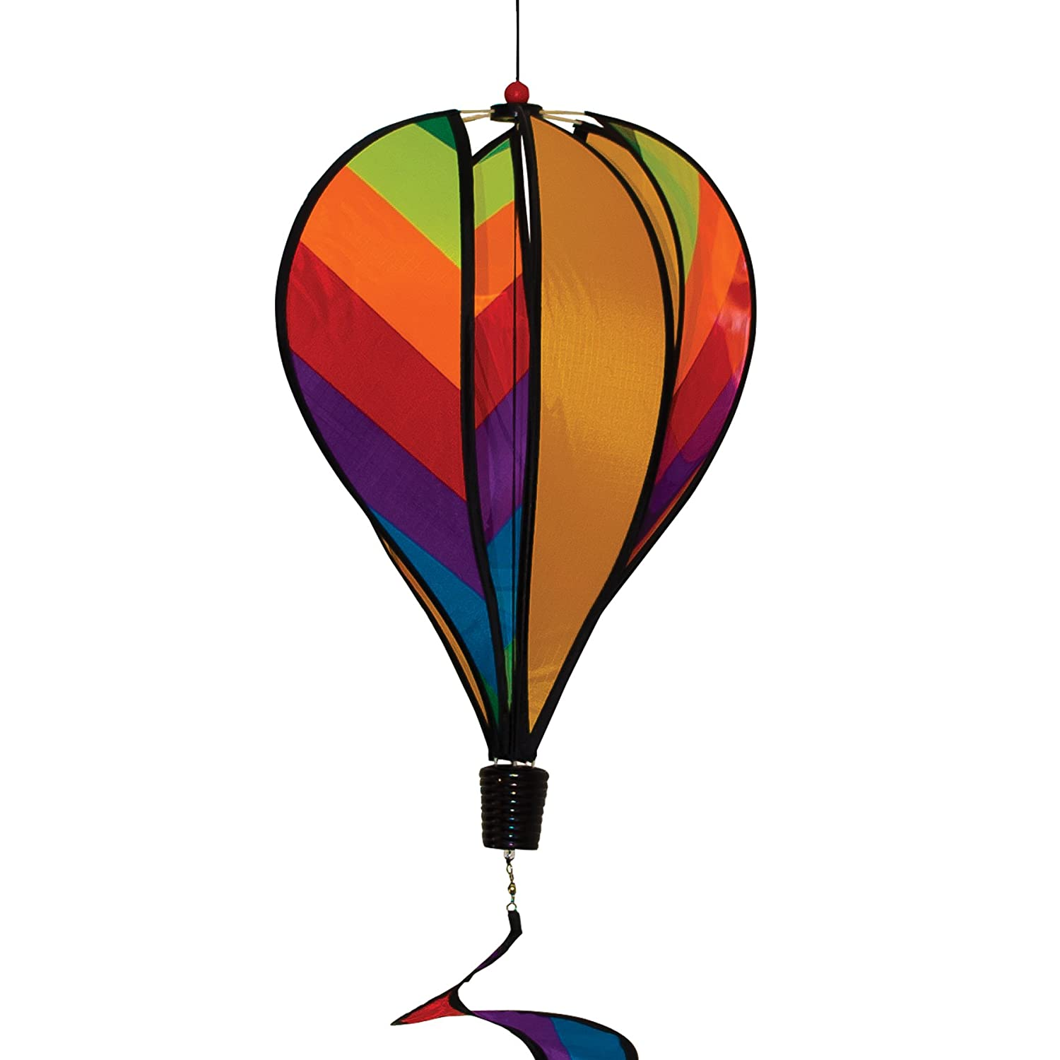 In the Breeze 6 Panel Rainbow Stripe Hot Air Balloon - Wind Spinner Includes Curlie Tail - Colorful Kinetic Hanging Decoration