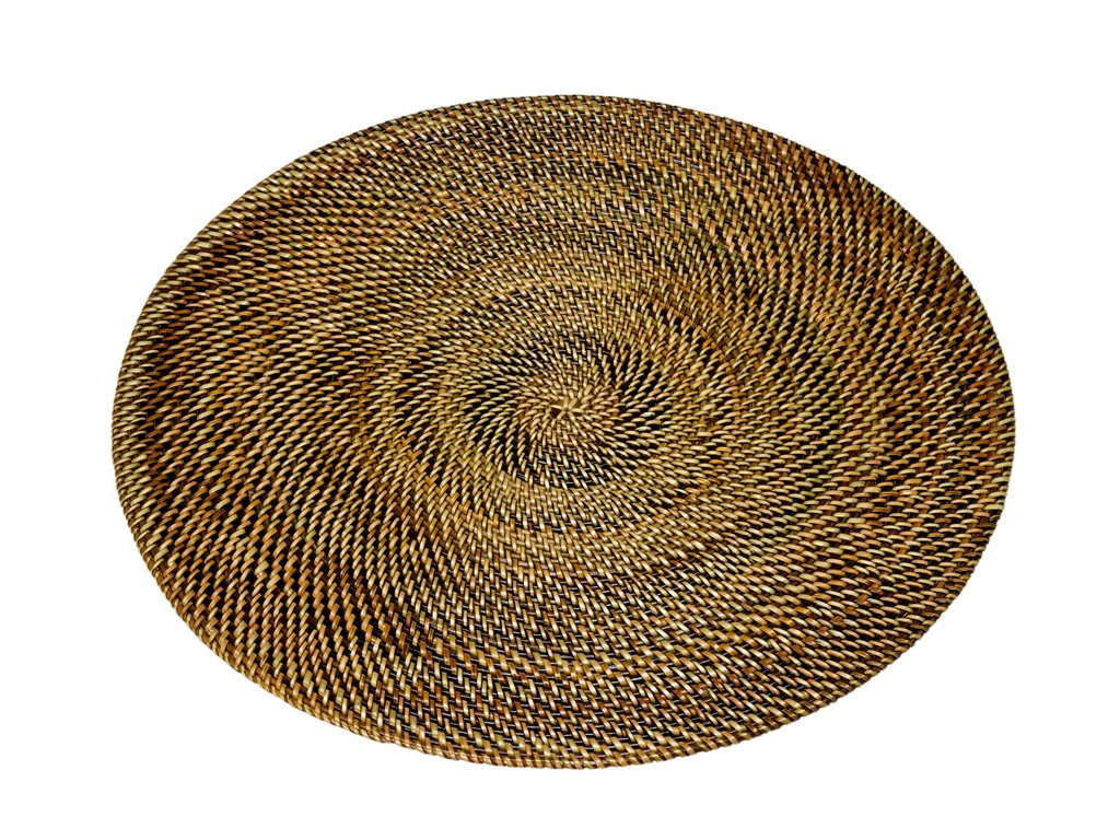 Brown Round Woven Nito Placemats Set of 2 - ChristmasTablescapeDecor.com