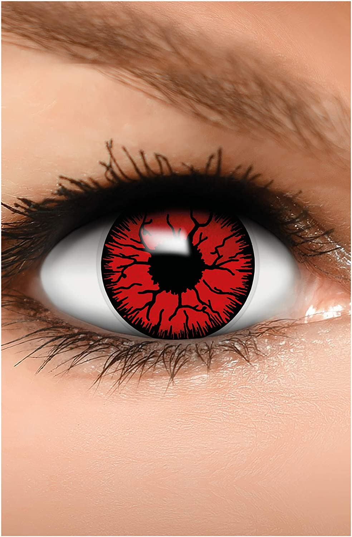 FUNZERA Lentes de contacto de Halloween de color, lentilla de motivo rojo, 1 par, un solo uso sin receta, disfrazarse como un DEVIL