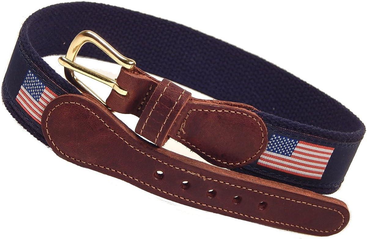 Preston Leather Boys Childrens Navy Blue American Flag Belt