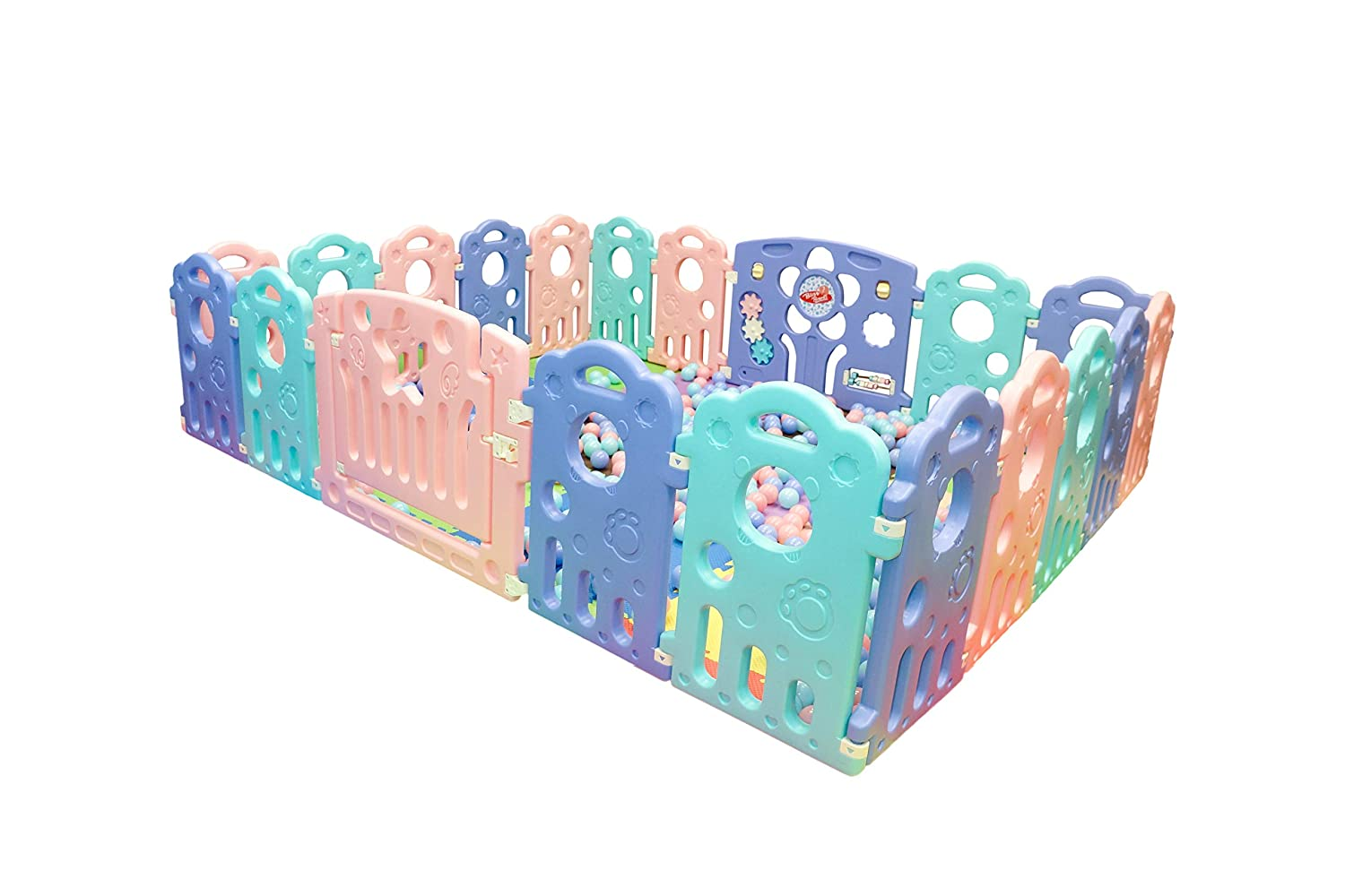 Baby Playpen for Infant and Toddler 18 Bear Panel Plus 2 Free Gates – Portable Play Yard with Gate for Babies – Large Indoor Outdoor Plastic Play Pen with Panels – Safety Playgate with Fence for Kids