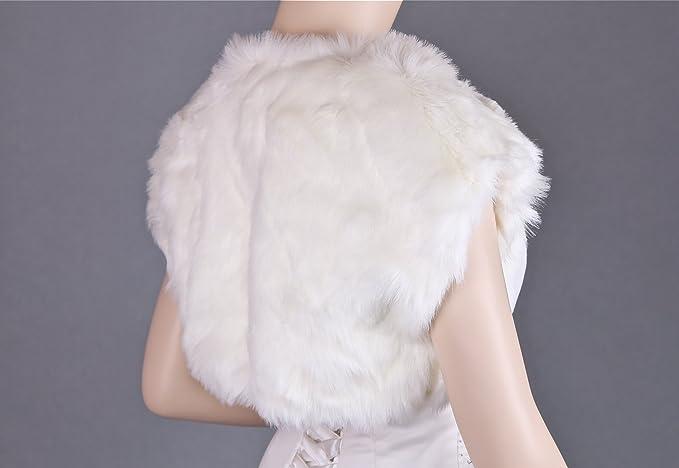 Flora Faux fur Satin lined Bridal Shrug/Wedding Bolero,S-XL,code 17: Amazon.co.uk: Clothing