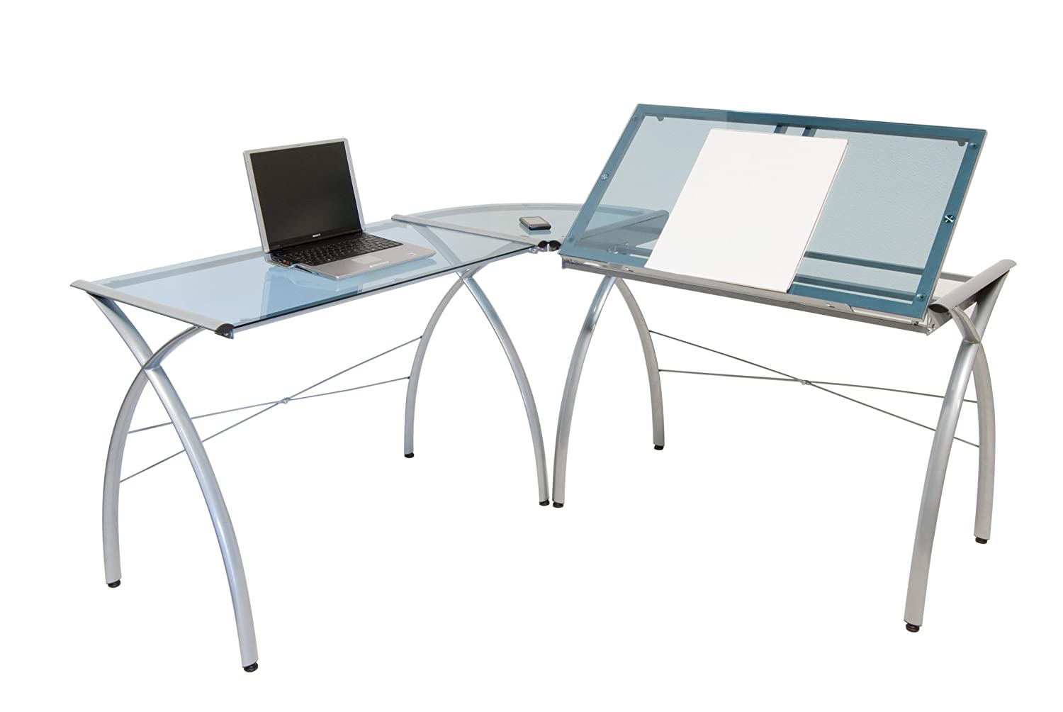 Drafting table home design ideas how to choose the best drafting - Studio Designs 50306 Futura Ls Work Center With Tilt Silver Blue Glass Modern Amazon Ca Home Kitchen