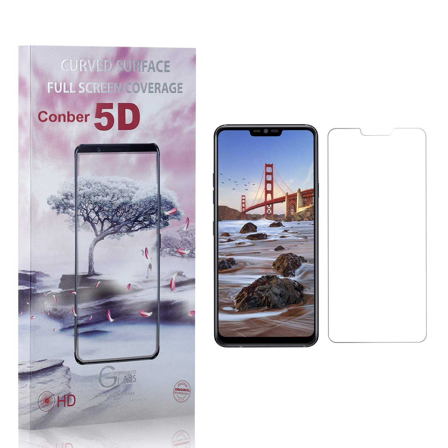 Anti-Shatter Scratch-Resistant Screen Protector for LG G7 ThinQ, Conber 4 Pack Case Friendly Premium Tempered Glass Screen Protector for LG G7 ThinQ