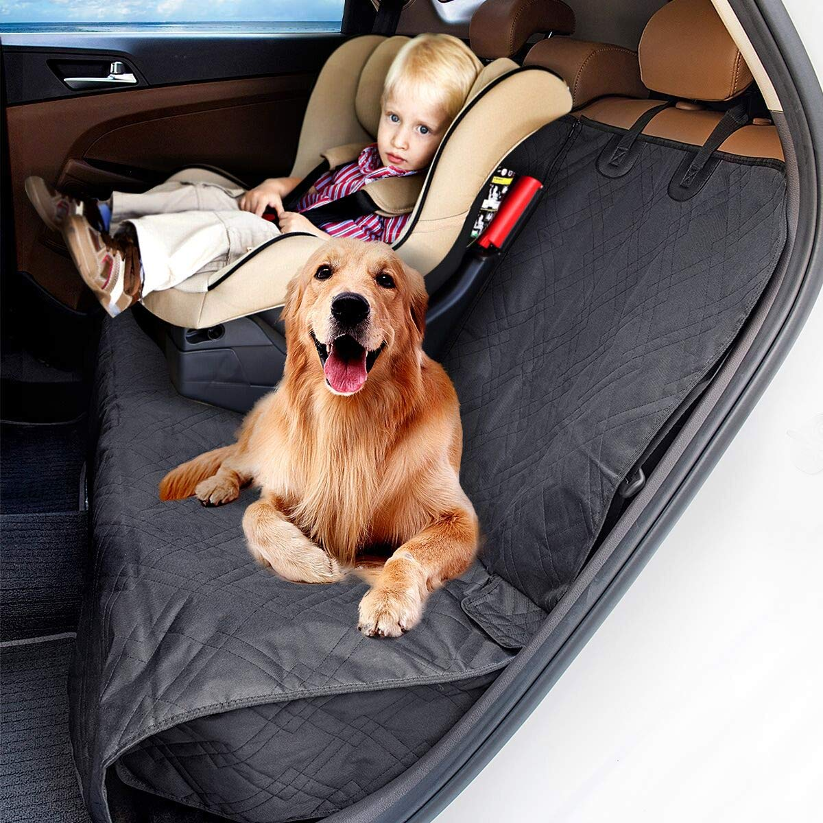MATCC Dog Car Seat Covers Waterproof Nonslip Back Seat Cover For Dogs Pets Kids With Side Flaps and Zipper Pet Seat Cover for Cars Trucks and SUVs
