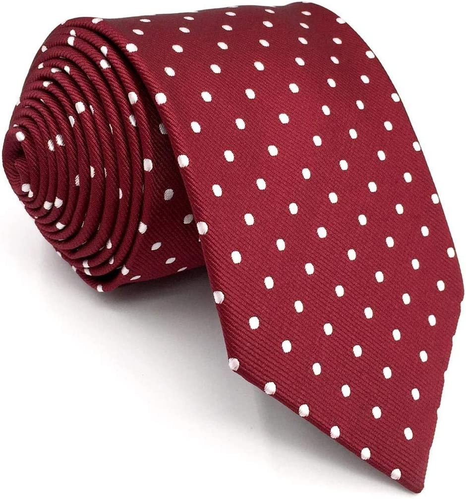 Shlax/&Wing Red Dots Maroon Wedding Necktie Mens Tie Fashion 57.5 Extra Long 63