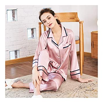 HAOLIEQUAN Silk Pajamas Nightwear Ladies Spring Autumn Two Pieces Set  Pyjama Female Luxury Sleepwear Women Pajamas 41c07bbc9