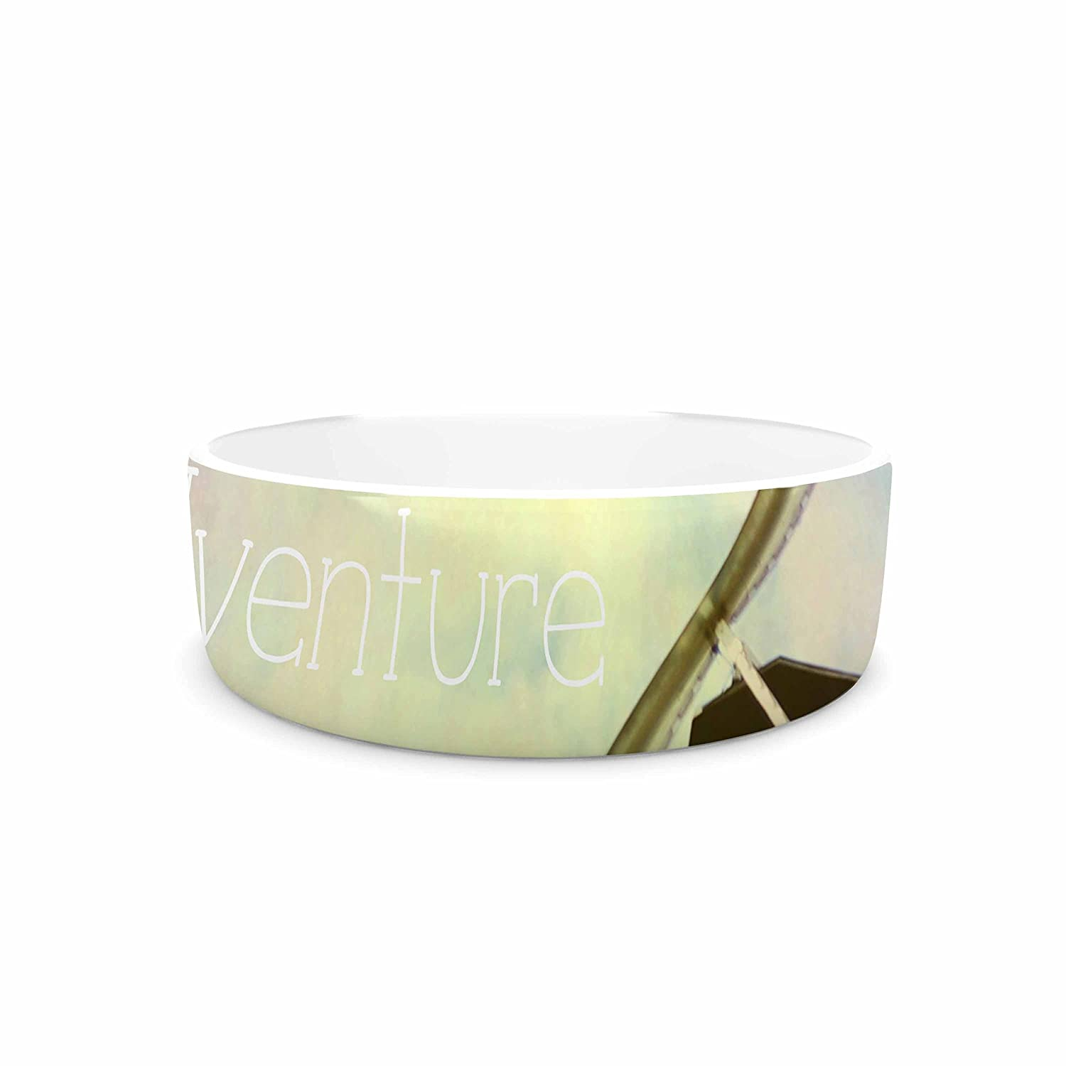 KESS InHouse Sylvia Coomes Let's Go On an Adventure Multicolor Pastel Photography Pet Bowl, 7