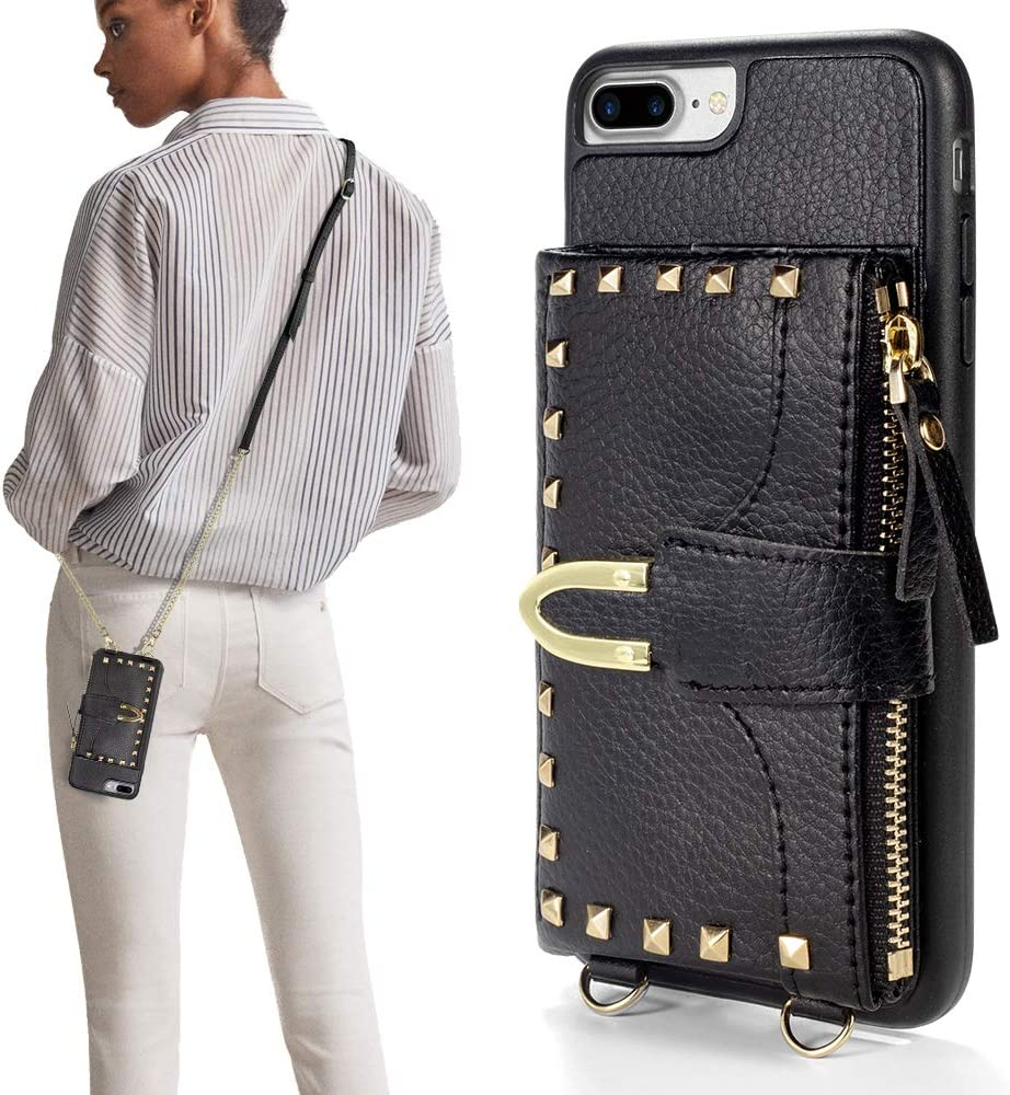iPhone 7 Plus Wallet Case, ZVE iPhone 8 Plus Case with Credit Card Holder Slot Crossbody Wallet Case Rivet Design Purse Wrist Strap Protective Case Cover for Apple iPhone 7 Plus, 5.5 inch - Black