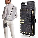 iPhone 7 Plus Wallet Case, ZVE iPhone 8 Plus Case with Credit Card Holder Slot Crossbody Wallet Case Rivet Design Purse Wrist