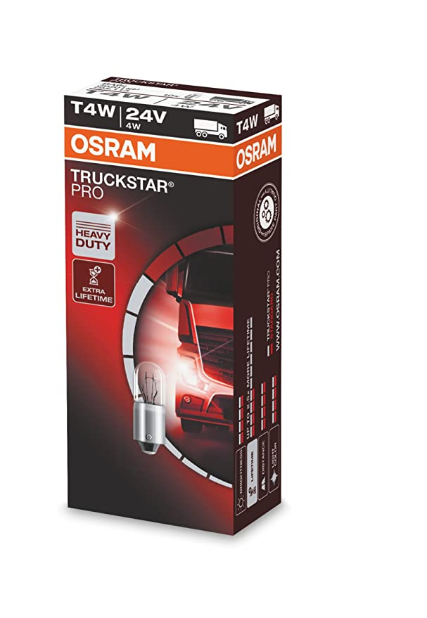 Embalaje Estuche Individual 100/% m/ás de Luz 4W Casquillo BA9S Osram 3930TSP Truckstar Pro T4W L/ámpara Hal/ógena Auxiliar 24V