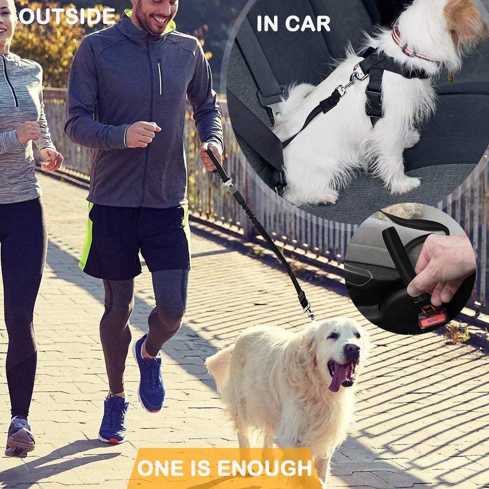 resistente agli urti retrattile guinzaglio per cani Guinzaglio per cani assorbente Bungee riflettente con fibbia di sicurezza per auto