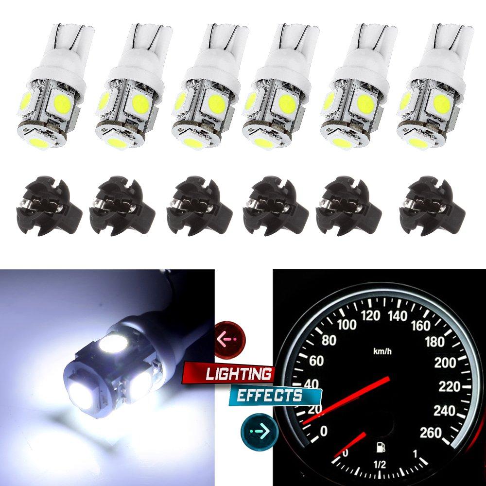 cciyu 6 Pack White PC168 T10 LED Cluster Gauge Dash Light Bulb W/Twist Lock