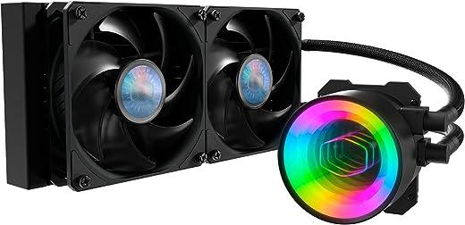 مبرد سائل لوحدة المعالجة المركزية للمرآة من MasterLiquid ML240 مزود بحلقة قريبة من أي كيو، لمضخة ARGB للمرآة، مبرد 240، تدفق مزدوج 120 مم، الجيل الثالث لمضخة الغرفة المزدوجة AMD Ryzen/Intel 1200، 1151