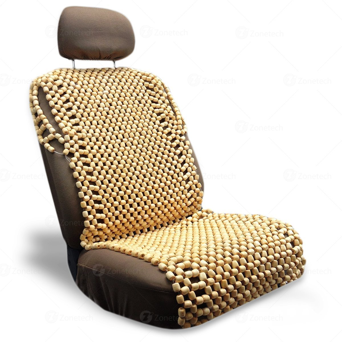 Zone Tech Natural Royal Wood Bead Seat Cover Massage Cool Premium Comfort Cushion - Reduces Fatigue the Car or Truck or Your Office Chair Comfort Wheels