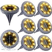 Luces Solares Exterior Jardin 8LED 8pcs, Impermeable IP65 Solar Luz Gris Blanca…
