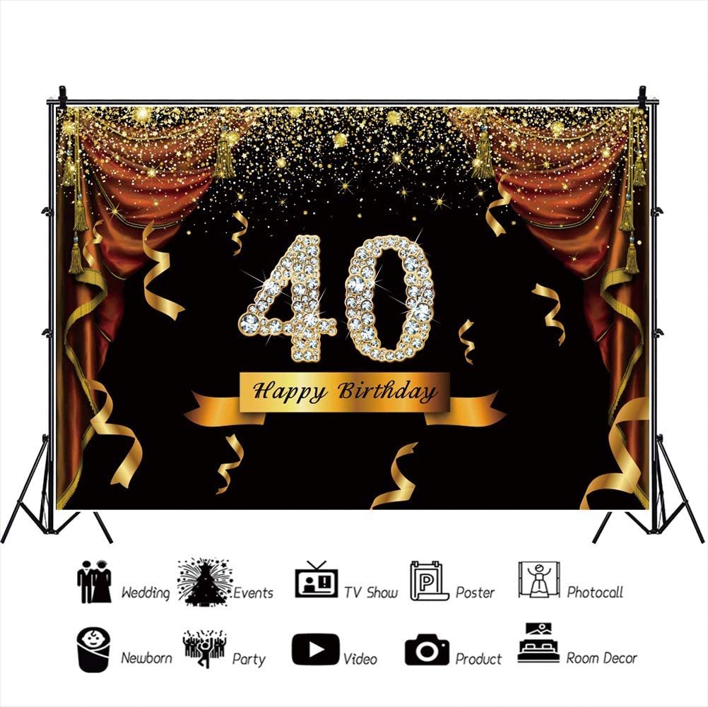 YEELE Happy 40th Birthday Photography Backdrop for Woman 10x8ft Glitter Diamonds Background 40 Years Old Woman Birthday Decorations Daughter Photo Booth Props